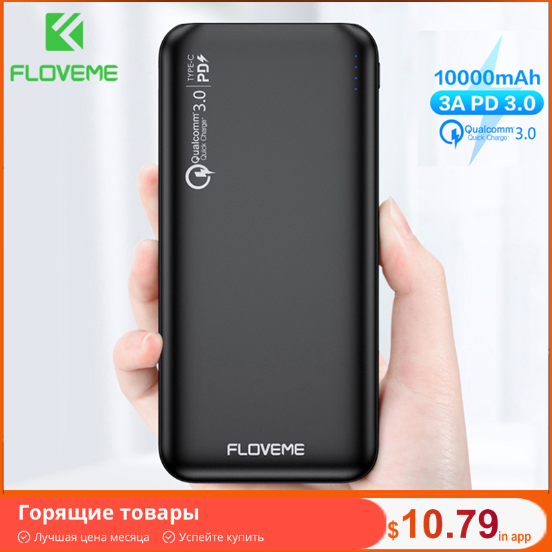 FLOVEME QC3.0 Power Bank 10000mAh Quick Charge 3.0 For Xiaomi Powerbank 10000 mAh PD Poverbank External Battery Portable Charger|Power Bank|   - AliExpress