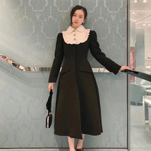 Women Black Woolen Coat 2020 Elegant Turn Down Collar Diamond Single Breasted Slim Long Trench Coat Dress Female Winter Outwear cheap Bsexy Polyester CN(Origin) Ages 18-35 Years Old Turn-down Collar Regular Full Skirt Wool Blends Button Diamonds vintage