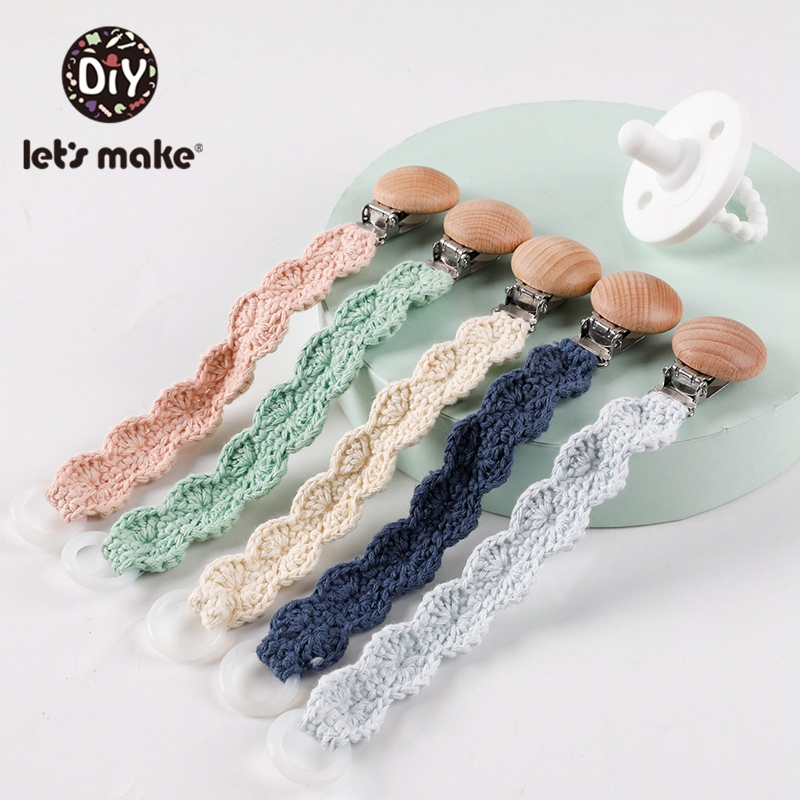 Let's Make 1pc Weaving Lace Pacifier Chain Wooden Clips Nipple Wood Teether BPA Free Nipples For Baby Teether Children's Product