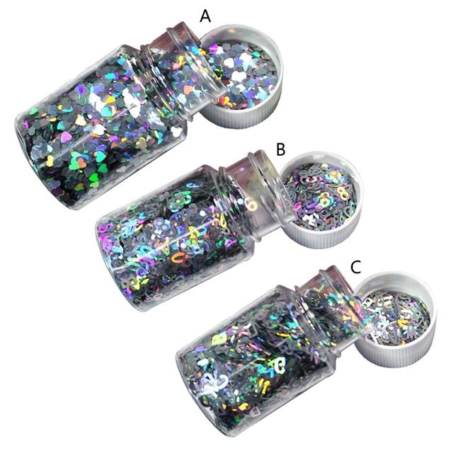 Lasery holograficzne srebrzysty masywny brokat żywica epoksydowa festiwal Chunky sześciokąty serce liczba liter cekiny 10g na tanie i dobre opinie Angelady CN (pochodzenie) 0inch not easily fade Formy Narzędzia jubilerskie i urządzeń Glitters 20202020 Silver Hearts