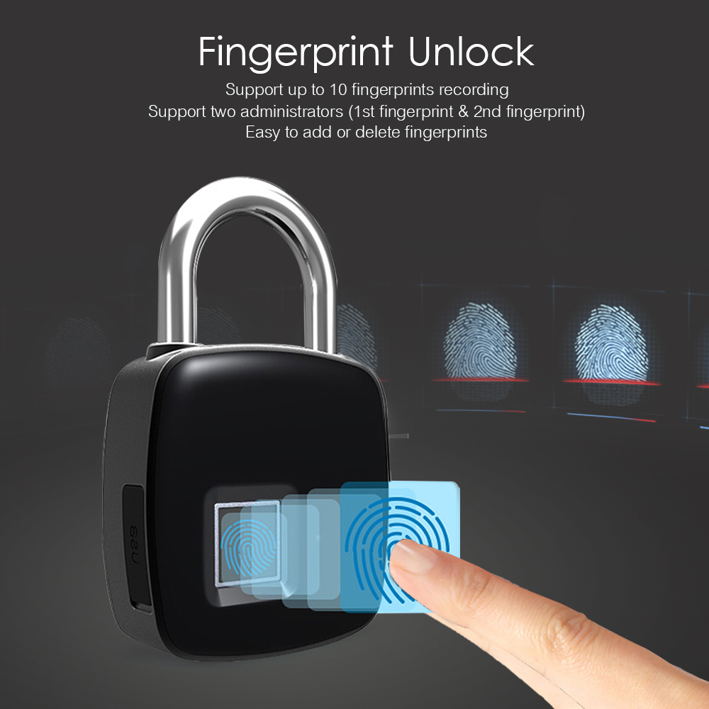 IP65 Waterproof Fingerprint Padlock Smart Lock Keyless Fingerprint Lock Inteligente Anti-Theft Security Padlock Door Lock