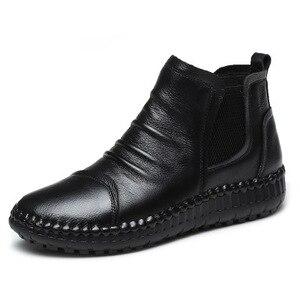 Image 4 - MVVJKE Botas planas de cuero genuino para mujer, zapatos informales Vintage, diseño de marca, Retro, hechos a mano, E006
