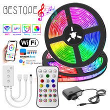 NEW WIFI LED Strip Light RGB 5050/2835 Flexible Ribbon Fita RGB Led Lights Tape Diode 20M-5M DC 12V and WIFI Controller