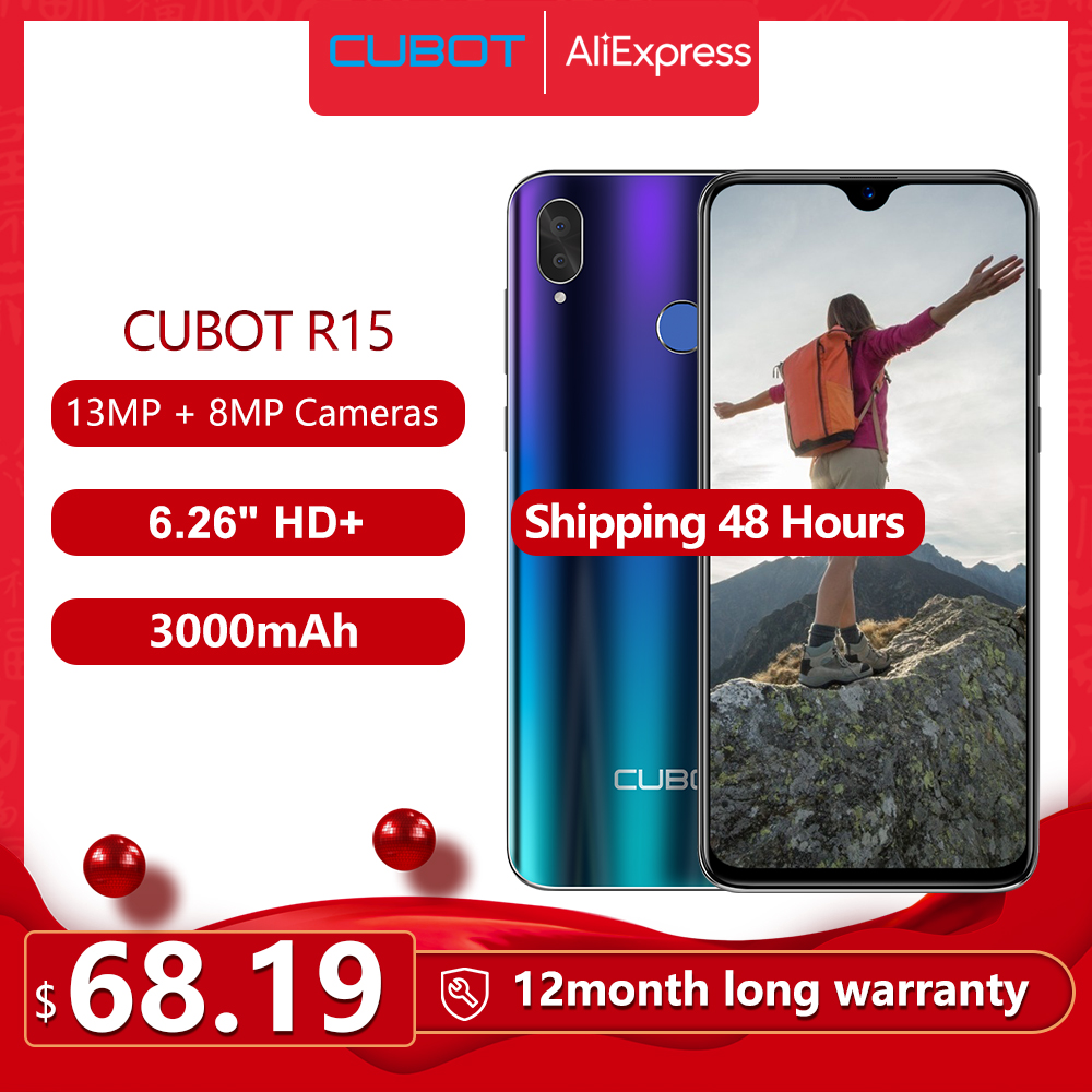 Cubot R15 SmartPhone Android 9.0 Pie 6.26'' 19:9 Water-Drop Screen MT6580P 2GB+16GB Finger ID Dual Rear Camera 13MP 3000mAh Good