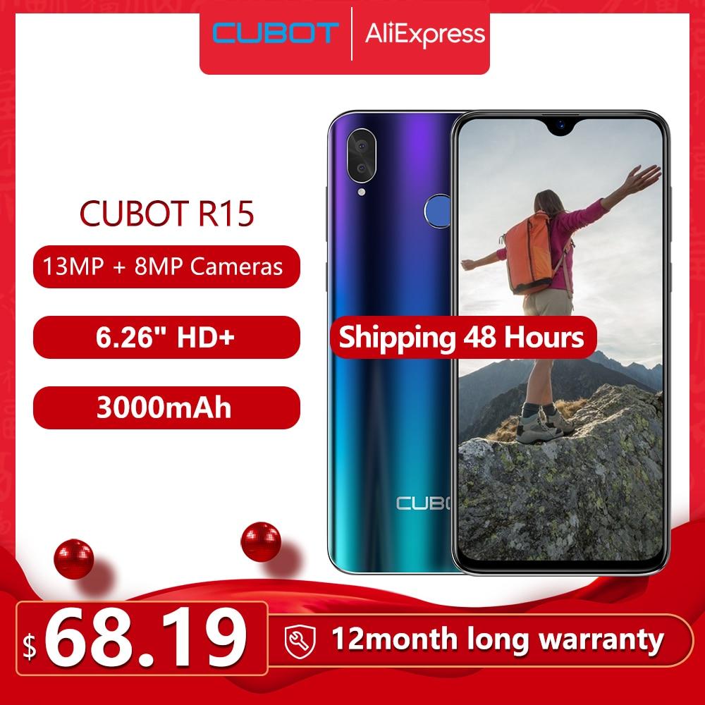 Cubot R15 SmartPhone Android 9.0 Pie 6.26'' 19:9 Water-Drop Screen MT6580P 2GB+16GB Finger ID Dual Rear Camera 13MP 3000mAh Good