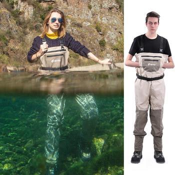 Neygu outdoor wadery na ryby wodoodporne klatki piersiowej wader oddychające spodnie wader z stocking foot tanie i dobre opinie tan grey and camo H stlye