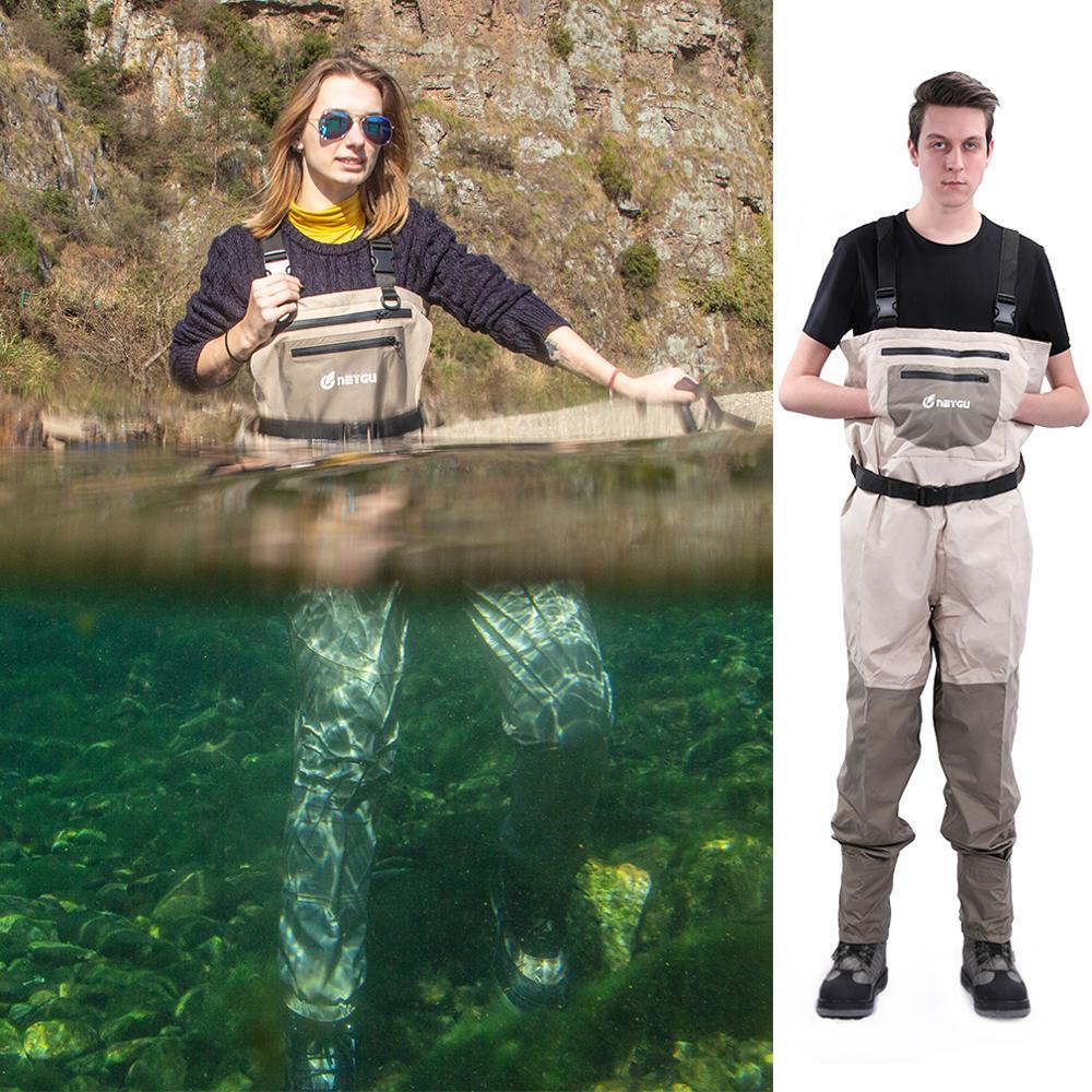 Pesca ao ar Peito à Prova Wader com Meia Neygu Wader Livre Dwaterproof Água Respirável Calças pé