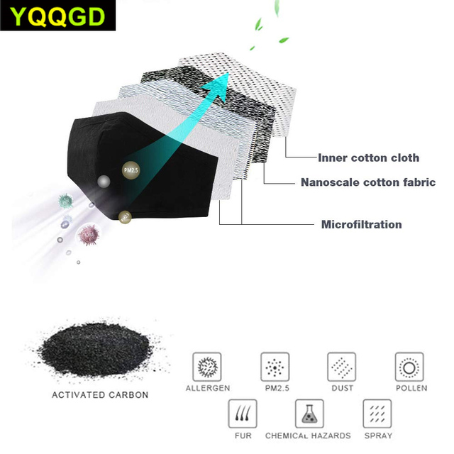 1Pcs Multi Color Cotton PM2.5 Black mouth Mask anti dust mask Activated carbon filter Windproof Mouth-muffle bacteria proof Flu 5