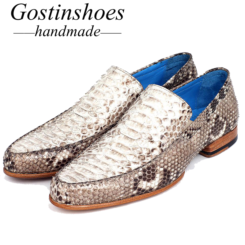 Goodyear Welted Handmade Men's Formal Shoes White Genuine Snakeskin Men Dress Shoes for Business Office Party Round Toe Slip-on