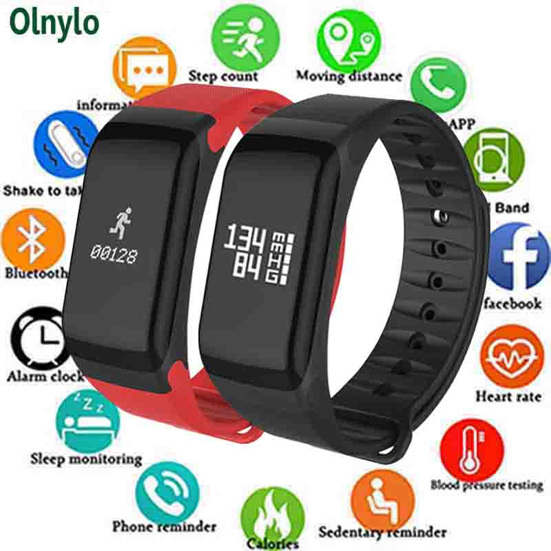 Wearfit F1 Pulseira Heart Rate Monitor de Pressão Arterial Inteligente Atividade Rastreador De Fitness Pulsometer Passometer Inteligente Pulseira Reloj
