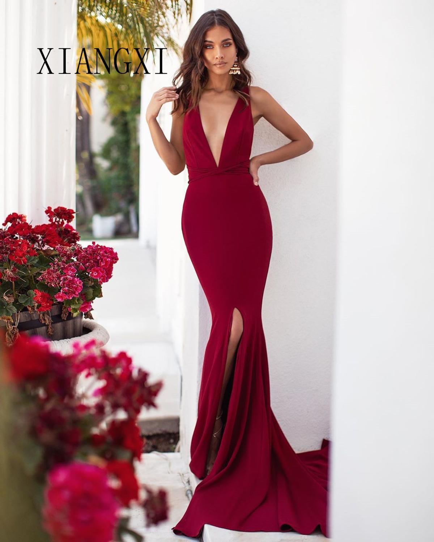 2020 Vestido De Festa Burgundy Mermaid Evening Dress 2020 Deep V-Neck Formal Gowns Evening Dresses Long abendkleider