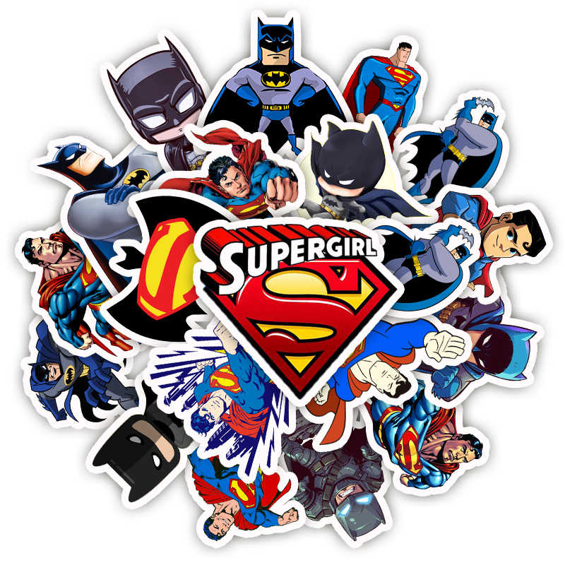 45Pcs Cartoon Superman Batman Stickers Pvc Waterproof Sticker for Luggage Skateboard Phone Laptop Moto Car DIY Stickers