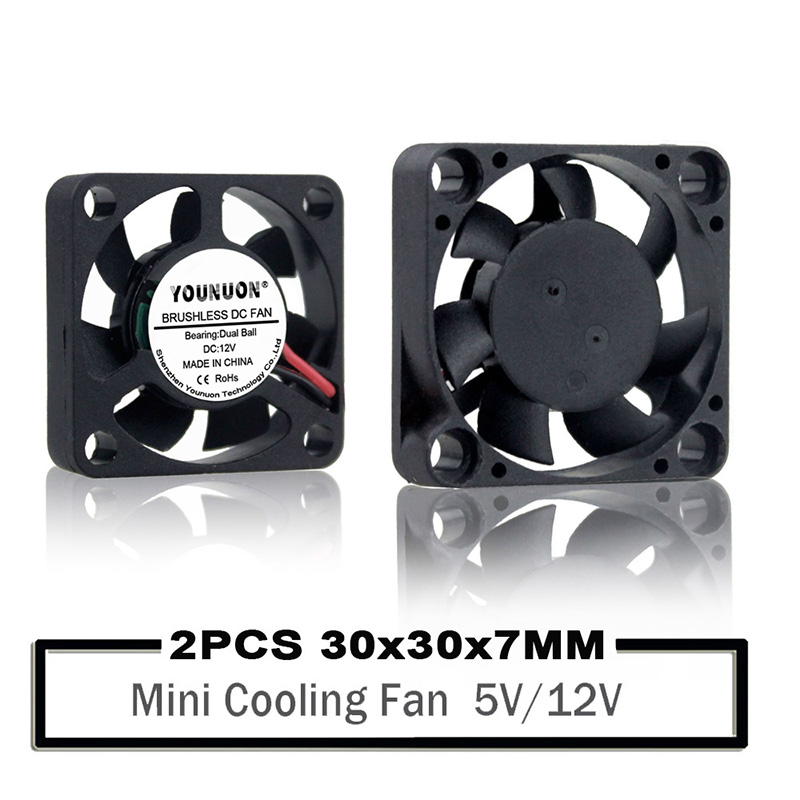 1pcs 12V 30x30x7mm 3cm Small DC Motor Brushless Cooling Case Fan 2Pin Xh2.54