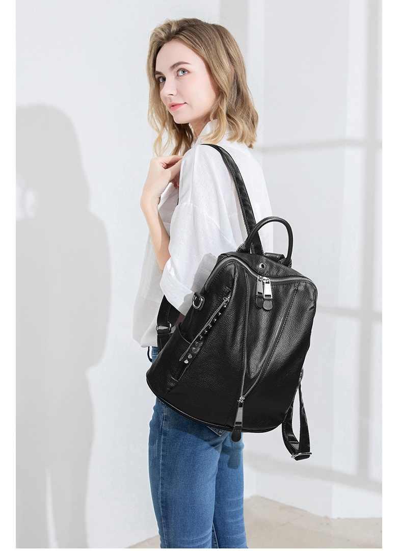 女性レザーバックパック高品質女性bagpack高級デザイナー大容量カジュアルデイパック嚢aドスmochilas C1129
