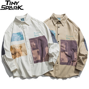 Image 3 - 2019 hip hop camisa masculina de manga comprida streetwear harajuku camisa gráfica remendos design retro vintage camisa solta casual topos outono
