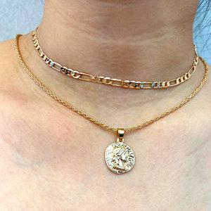Flatfoosie Multilayer Schmetterling Anhänger Halsketten Für Frauen Vintage Gold Farbe Portrait Münze Halskette Böhmischen Schmuck Geschenk
