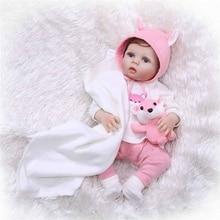 NPK 55cm Lifelike full silicone Reborn Baby Dolls Girl Silicone Reborns Realistic bonecas with Clothes Cute Toy