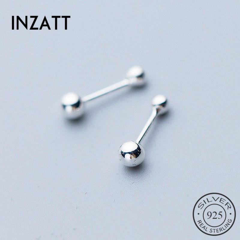 INZATT Real 925 Sterling Silver Minimalist Round Small Bead Earrings For Fashion Women Party Fine Jewelry Geometric Accessories