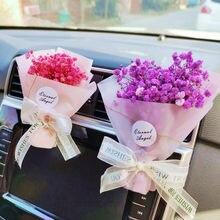 Gypsophila seco Carro de flores ambientador de aire creativo ramo Clip para salida de aire de coche fragancia Clip accesorios de Auto Interior Perfume