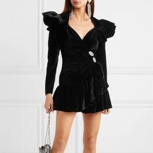 Image 2 - TWOTWINSTYLE Elegant Patchwork Diamond Ruffle Dress For Women V Neck Long Sleeve High Waist Dresses Female 2020 Autumn Fahsion