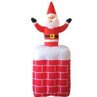 Christmas Santa Claus Chimney Inflatable LED Glowing Decoration Party DIY Props Xmas New Year Lantern Yard Art Decor Supplies