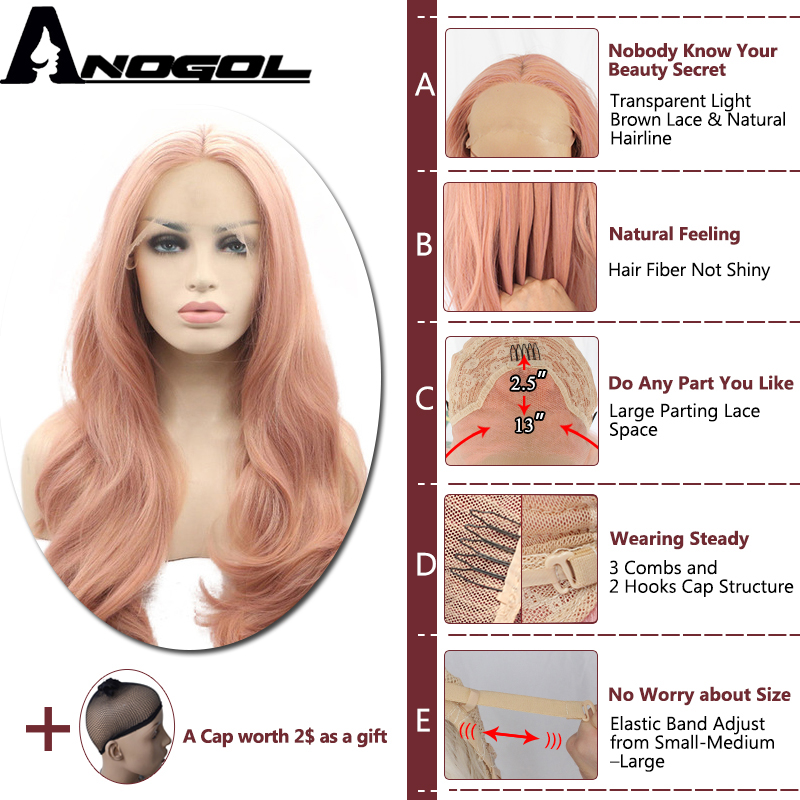 Anogol Pink Hair Wigs Long Body Wave Synthetic Lace Front Wig For Women Napnk Peruca Cabelo High Temperature Fiber Free Part