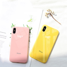 For iphone logo case iPhone X XS XR Max 8 7 6 6S Plus  Simple Solid Color Phone Case Macaron Glass