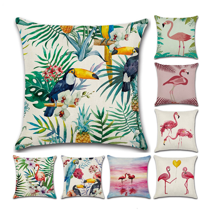1Pc Decorative Throw Pillow Cover Hawaiian Tropical Toucan Square Throw Pillow Cushion For Sofa Room Couch 45x45 cm