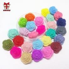 Bobobox 30 шт цветок силиконовые бусины пищевая Роза зубной