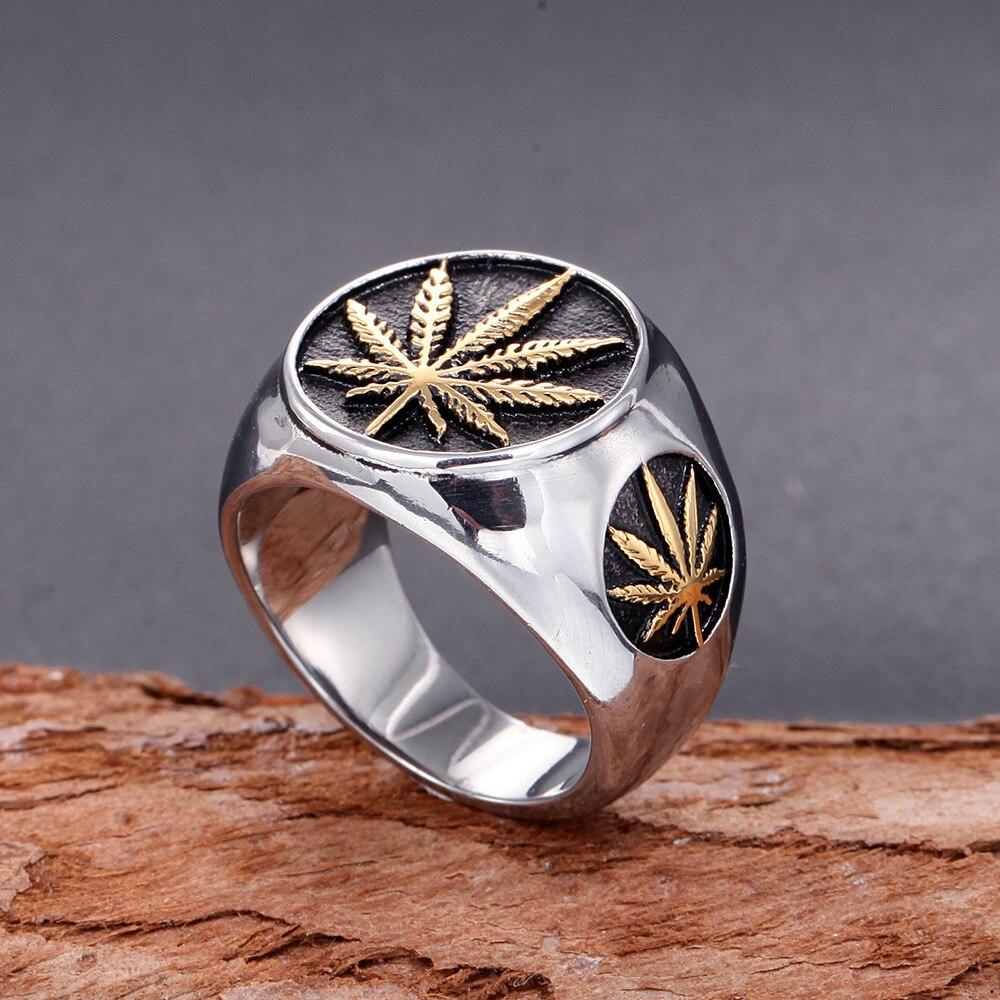 Hiphop folha de bordo dos homens anel de aço inoxidável hip hop punk estilo ouro cor anel de sinal para rocker mujer cânhamo anel masculino