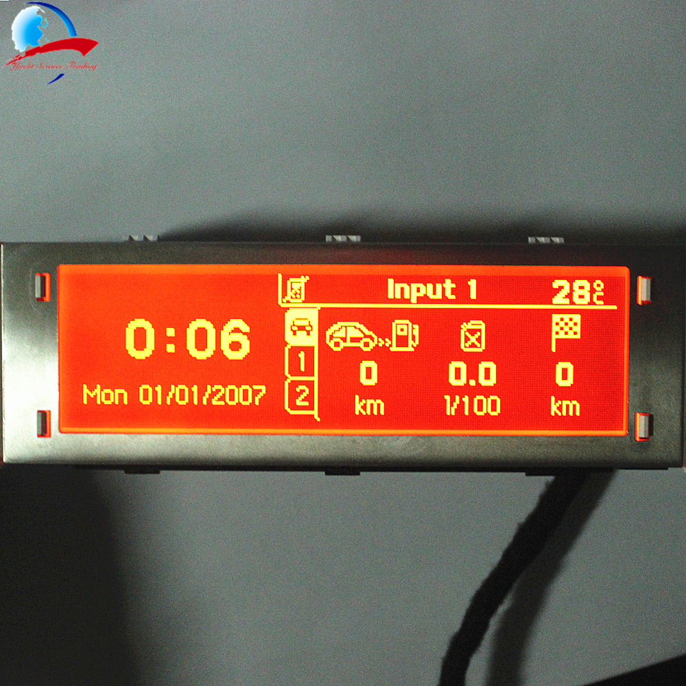12 Pin car 4 menu Display Red screen support USB and Bluetooth monitor for Peugeot 307 407 408 citroen C4 C5 No Climate Control