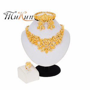 Nigeria Dubai 24K Gold jewelry sets African bridal wedding gifts party for women Bracelet Bowknot Necklace earrings ring sets