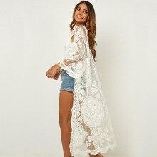 Summer Beach Dress Mesh Cover Up Cotton Street Style Blouse Mesh Embroidered Loose Bikini Outside Sunscreen Cardigan 2020 Women