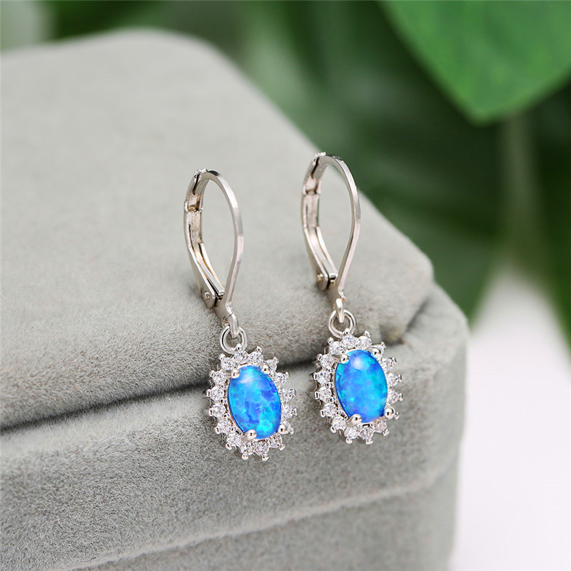 Blue/White Fire Opal Oval Stone Dangle Earrings White Gold White Zircon Drop Earrings For Women Wedding Bridal Luxury Jewelry