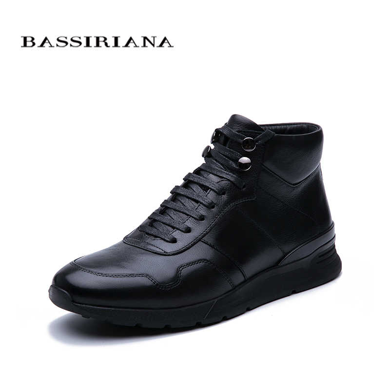 BASSIRIANA New 2019 Winter leather men's leather shoes warm shoes high quality comfortable free shipping