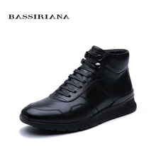 BASSIRIANA New 2019 Winter leather mens shoes warm high quality comfortable free shipping