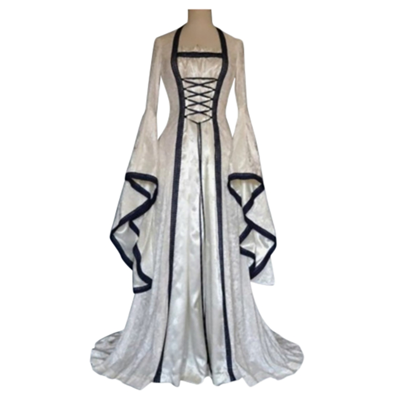 Gothic Medieval Dress Cosplay Carnival Halloween Costume For Women Retro Vestidos Court Long Robe Noble Princess Palace Party