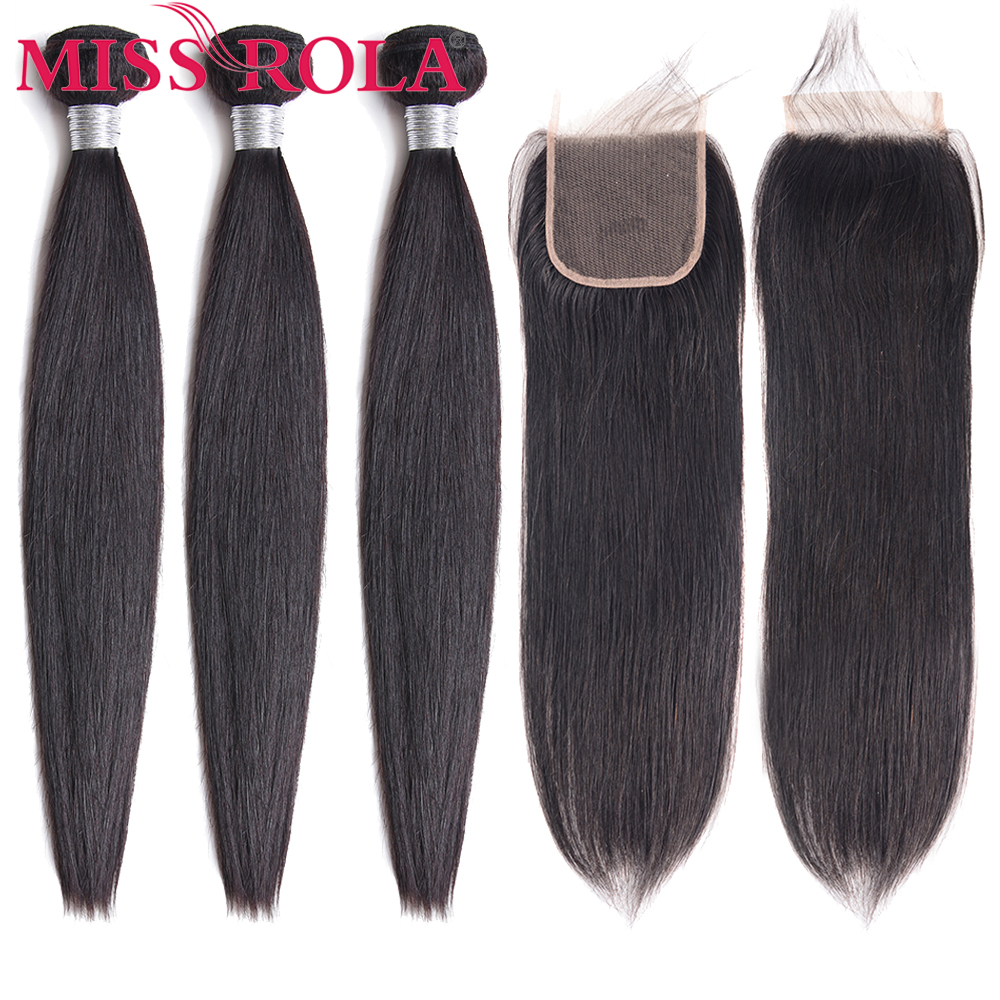 Miss Rola Hair Malaysian Straight Hair Bundles With Closure 100% Human Hair Natural Color Non-Remy Hair 4*4 Lace Closure
