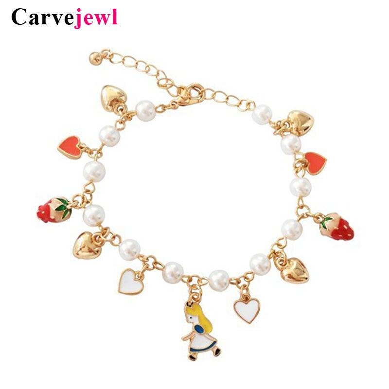 Carvejewl hand made emaille fee liebe wärme Charme Armbänder armreif erdbeere kuchen verbunden perle Armband nette junge mädchen armband