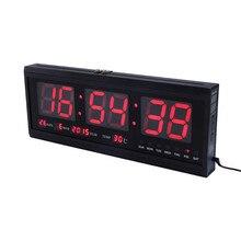 HT4819SM-3, цифровые настенные, алюминиевые большие цифровые светодиодный настенные часы, цифровые настенные часы большой светодиодный Календарь температуры