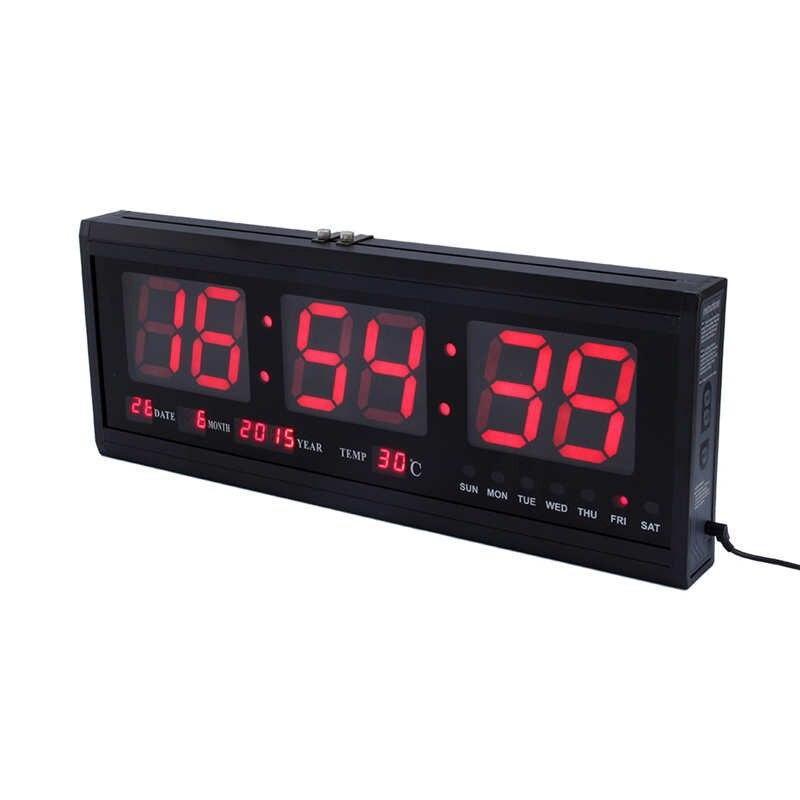 HT4819SM-3,Digital Wall ,Aluminum Large Digital LED Wall Clock ,Digital Wall Clock Big LED Time Calendar Temperature