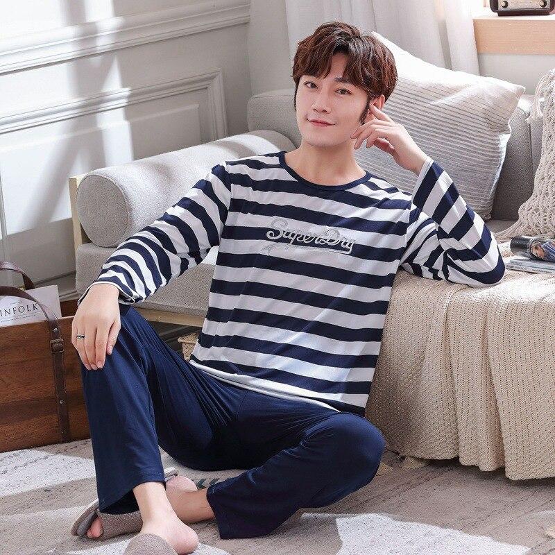 Autumn New Long Sleeve Pijama Stripe Pajamas Set For Male Plus Size Sleep Clothing Casual Nightie Sleepwear Men Pyjamas Suit