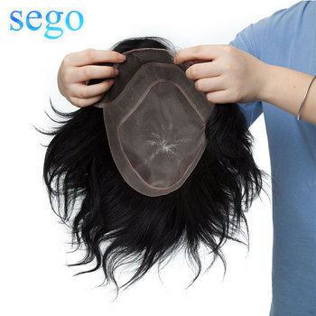 EGO 8x10 Men Toupee Mono&PU&Lace Real Remy Human Hair Replacement Hair System Toupee Wig Density 120% Color 1B #1 #2 sego 8 x10 lace hair system men toupee real human hair replacement machine remy wigs natural hairline front bleach knot