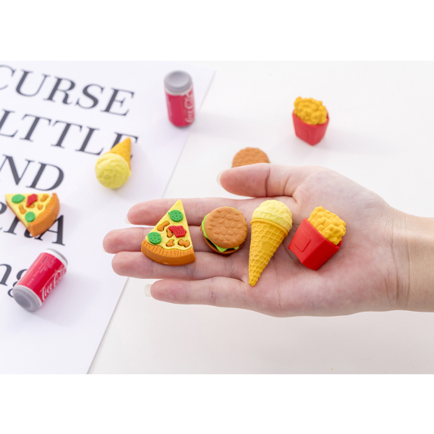 5pcs/set Creative Burger Cola Fast Food Cute Student Kids Gifts School Eraser Set For Creativity Simple