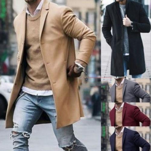 New Men Wool Coat Winter Trench Coat Outwear Overcoat Long Sleeve Button Up Jacket Fashion Streetwear