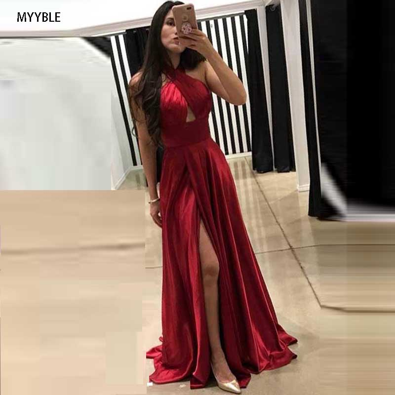 2020 Sexy Robe De Soiree Evening Dress Halter Vestidos Satin A Line Side Split Party Gown Evening Gowns Vestido Para Festa Longo