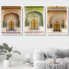 Cancello verde indiano moderno porta del palazzo di Jaipur Poster da viaggio Boho Wall Art Canvas Painting Pictures for Living Room Home Decoration