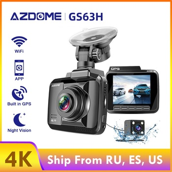 AZDOME 4K Ultra-HD DVR GS63H Built in GPS 2.4 inch LCD Screen dash cam Speed Coordinates WiFi registrar Dual Lens car camera image