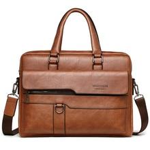 Luxury Brand Business Briefcase Leather Handbag For Men Messenger Shoulder Bag O