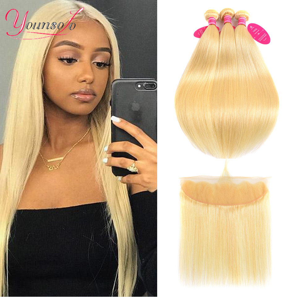 Younsolo 613 Bundles With Lace Frontal Closure Straight Blonded Bundle With Front Human Hair Remy Hair Extensions